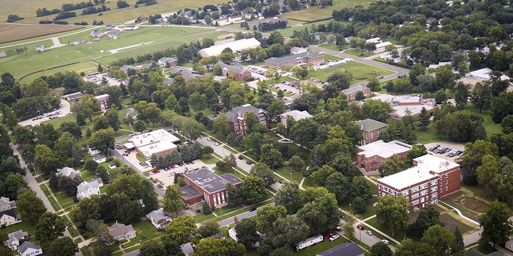 An aerial view of the Eureka College campus